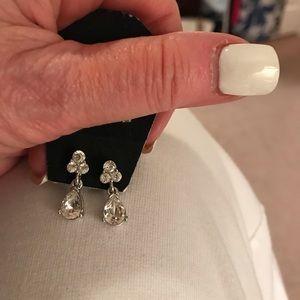 Silver Rhinestone Evening Wear Earrings  NWOT